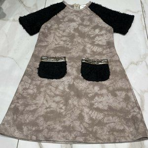 Girls Couture Beige Dress Zip Back Size 5